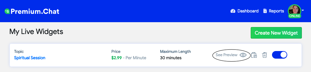 pay per minute widget