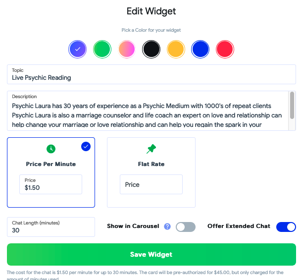 psychic chat widget