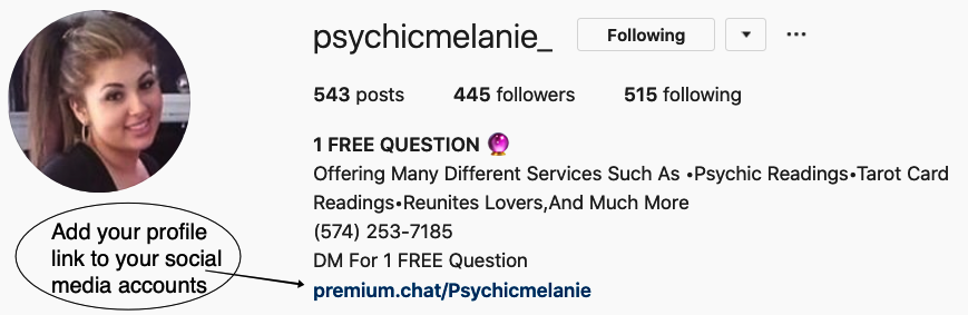 instagram psychic profile