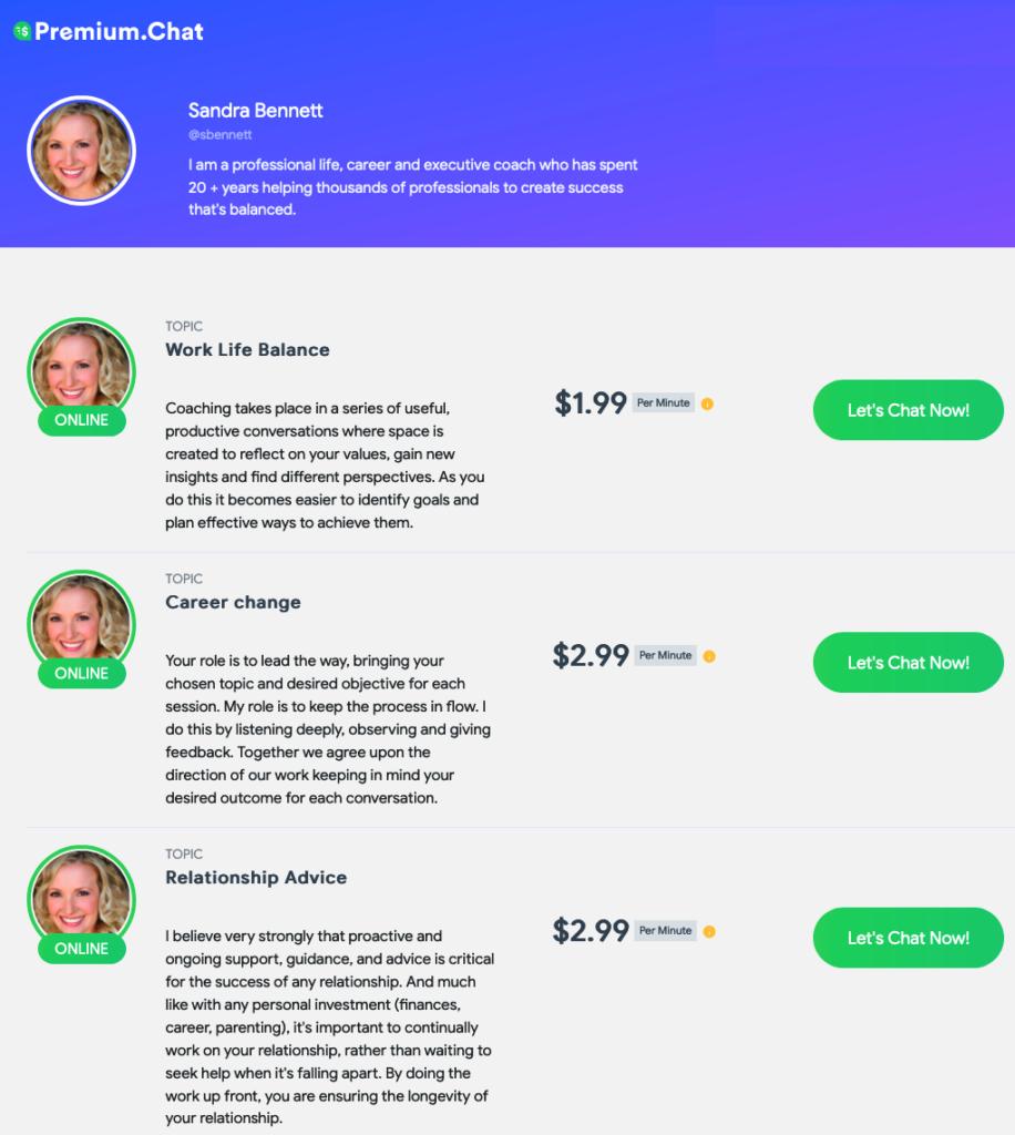 premium.chat profile page