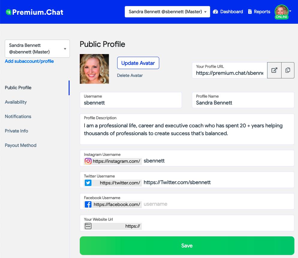 premium chat public profile