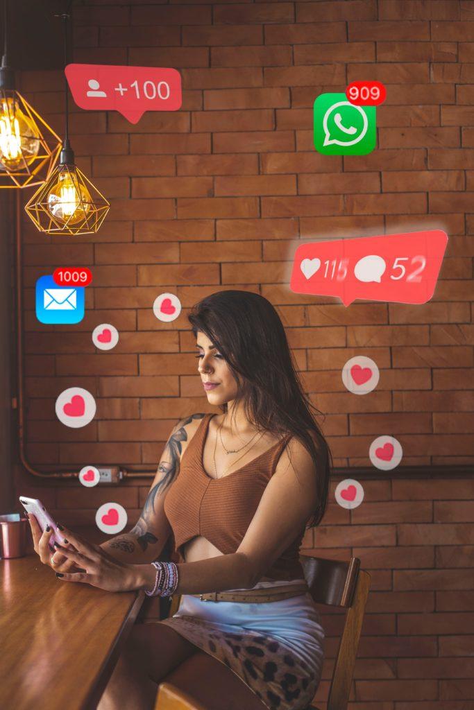 texting flirting talking woman