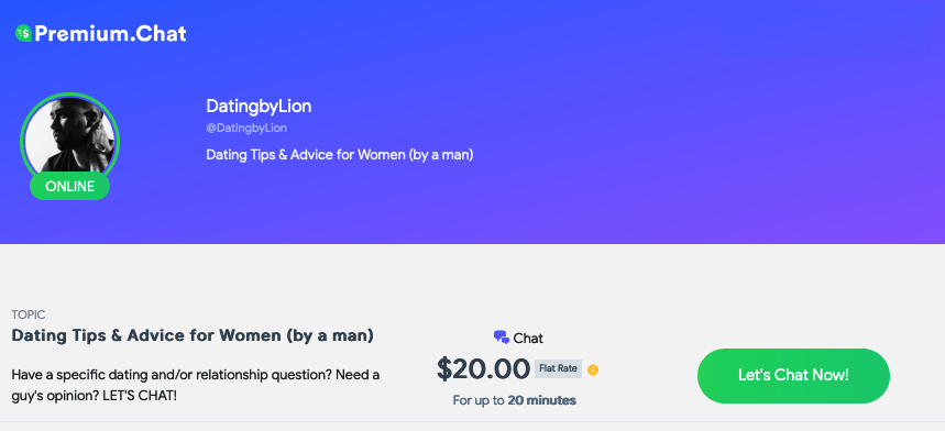 Premium Chat with  DatingByLion