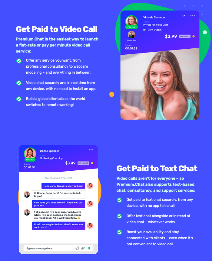 pay per minute text and video chat