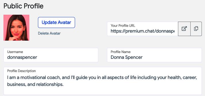 premium.chat profile example