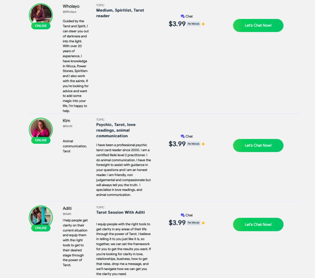 psychic chat profiles