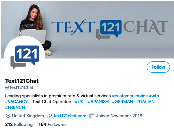 text121chat twitter