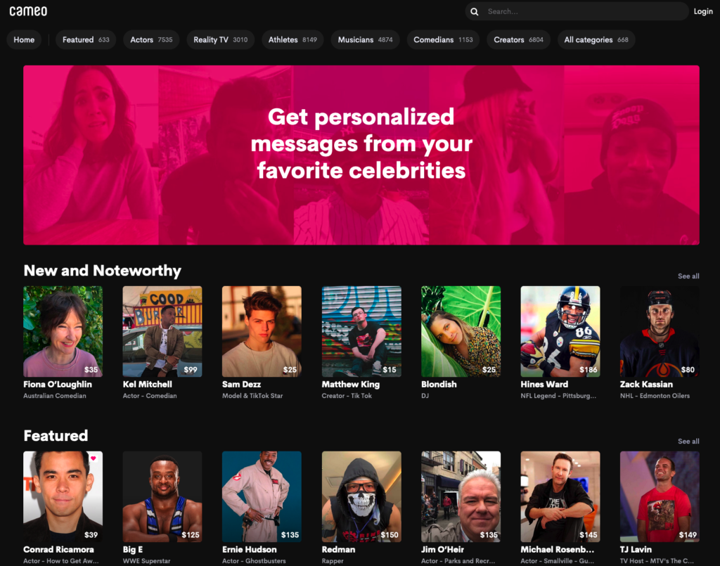 cameo homepage